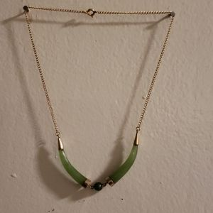 Girls goldtone jade necklace